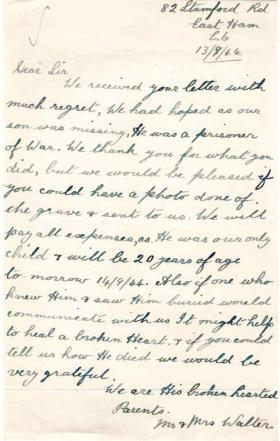 Letter from Mr & Mrs Walter to Major Parry about the death of their son P. F. Walter