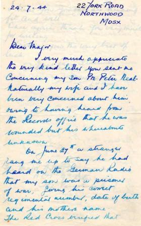 Letters from Mr L. Neal to Major Parry about his missing son P. Neal