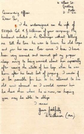 Letter from Mrs D. Wilkinson to Major Parry about her husband R. J. Wilkinson