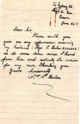Letters from Mrs Easlea to Major Parry about her missing husband E. Easlea