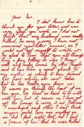 Letter from Mrs I. Mayhew to Major Parry about the death of her husband W. Mayhew