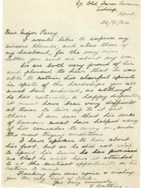Letter from Mrs J. Watkins to Major Parry about her son S. Watkins