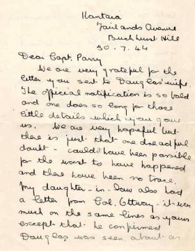 Letter from Mrs M. Catlin to Major Parry about the death of her son D. Catlin