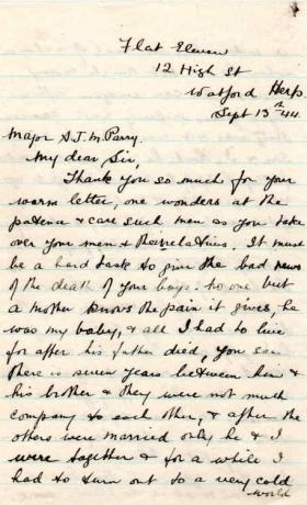 Letter from Mrs Mawson to Major Parry about the death of her son E. Corteil