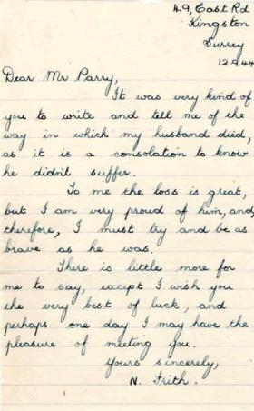 Letter from Mrs N. Frith to Major Parry about the death of her husband J. Frith