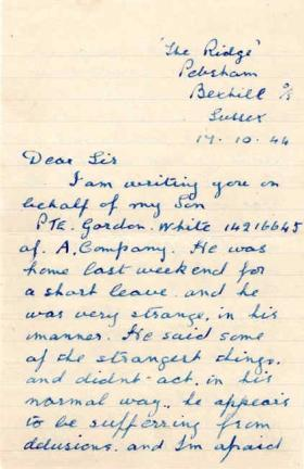 Letter from Mrs R. White to Major Parry about the health of her son G. White