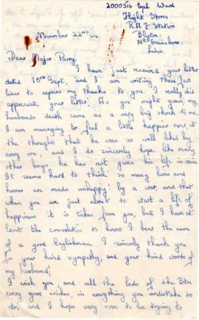Letter from Mrs Ward to Major Parry about the death of her husband A. Ward