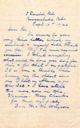 Letter from Mrs Wingrove to Major Parry about the death of her son F. Wingrove