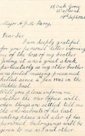 Letter from S. Mander to Major Parry about the death of her brother J. Mander