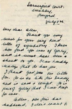 Letter to Major Parry from a next of kin about the death of their son