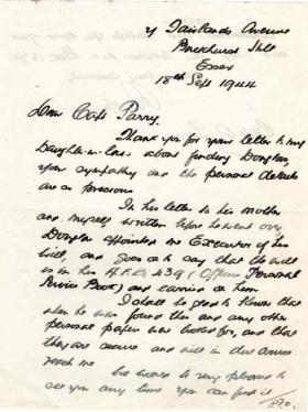 Letter to Major Parry from an unknown next of kin about the death of his son