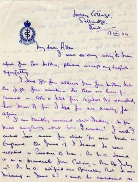 Letter to Major Parry from an unknown next of kin about their missing relative