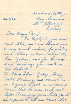 Letters from Mr & Mrs Adsett to Major Parry about their missing son G. Adsett