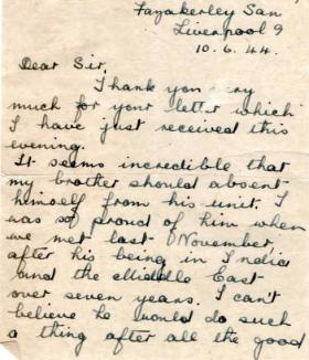 Letters from Mrs N. Greener to Major Parry about her missing brother J. Battle