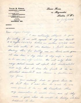 Letters from Mrs Taylor to Major Parry about the death of her son B. E. Taylor