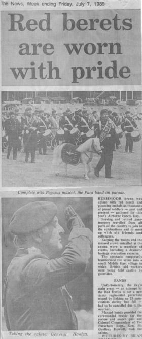 Newspaper Article on The Parachute Regiment Bands on Airborne Forces Day, Rushmoor Arena, 1989.