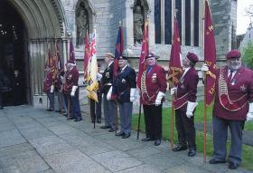 PRA and RBL standard bearers outside St Wulfums Church, Grantham, for Richard Todds Memorial Service,  10th May 2010