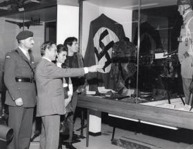 Richard Todd and Kathleen Winstanley, Miss UK 1968 visit the Airborne Forces Museum, Aldershot.
