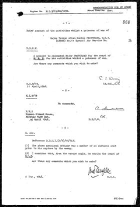 Major Trevor AG Pritchard MBE Citation proposal letters