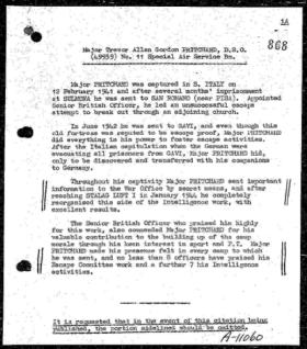 Major Trevor AG Pritchard MBE Citation