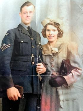 Sgt David with wife, Olive, colorized