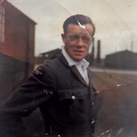 Sgt S David in RAF uniform colourized