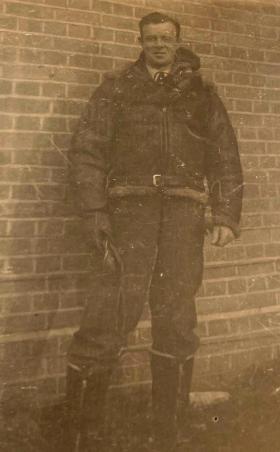 Sgt S David wearing flying jacket