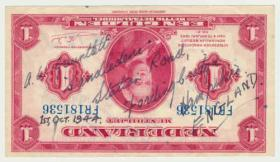 Dutch bank note signed by Spr. GW Gauntlet. 1 October 1944.