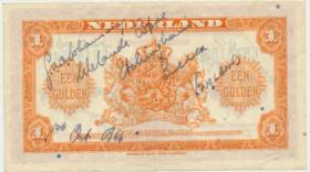 Dutch bank note signed by L/Cpl. GAA Johanson. 1 October 1944.