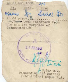 Documents relating to the service of Derek Keeler