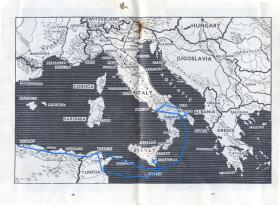 Map of the Mediterranean area in the 'Soldier's Guide to Italy'