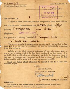 Pte J Montgomery Reported as Missing Letter.