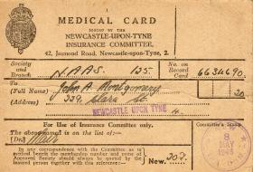 Pte JA Montgomery Medical Card