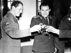 Colonel Sanderson Military Attaché has drinks with Russian and Bulgarian MA's. Sofia 1962