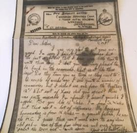 Letter written By Noel R Ball in 1943