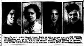 Newspaper Cutting of Bryan and his Sister and Brothers 27 January 1945 Staffordshire Sentinel