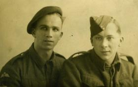 Dvr GS Smith with unknown friend, England March 1944
