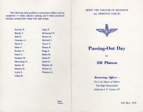 350 Platoon Passing out Parade booklet May 1970