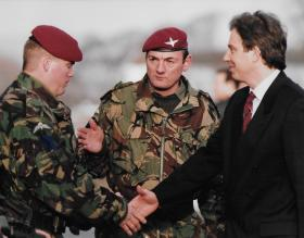 David Benest CO 2 Para introducing soldier to Tony Blair in 1994