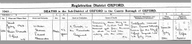 Death Certificate for Pte Alexander