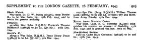 Mark Ginsberg London Gazette Supplement 1945