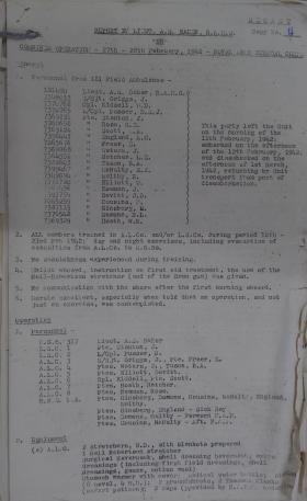 Capt Baker's report for Op Biting Ref 181 A/L Amb