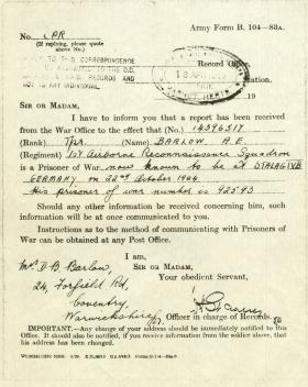 Notice of Tpr A Barlow being a POW 18 Apr 1945