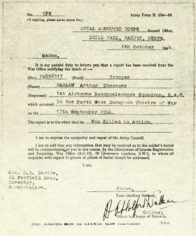 Notice of Tpr A Barlow's death 6 Oct 1944
