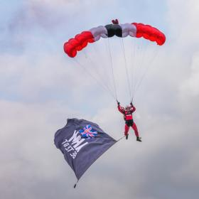 A member of The Red Devils Parachute Display Team at the Colours Parade, 13 July 2021