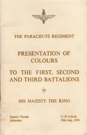 Presentation of Colours Parade Booklet 1950