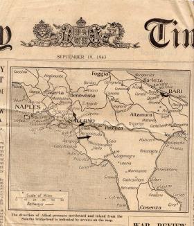 Salerno Bridgehead Times Newspaper Sept 1943