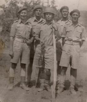 FG Tansley (left) and members of 300th AT Battery, MEF, c1943