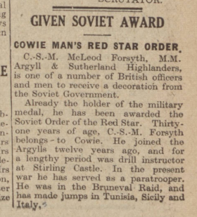 Mac Forsyth Newspaper 1944