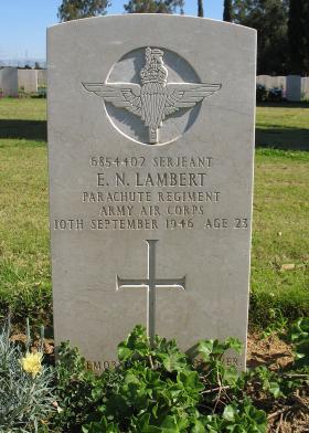 Grave and burial of Sgt  Ernest N Lambert, Ramleh War Cemetery, Israel